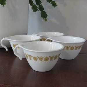 Corelle Butterfly Gold Open Handle Coffee Mug, Tea Cup, Stacking, Hanging Cup